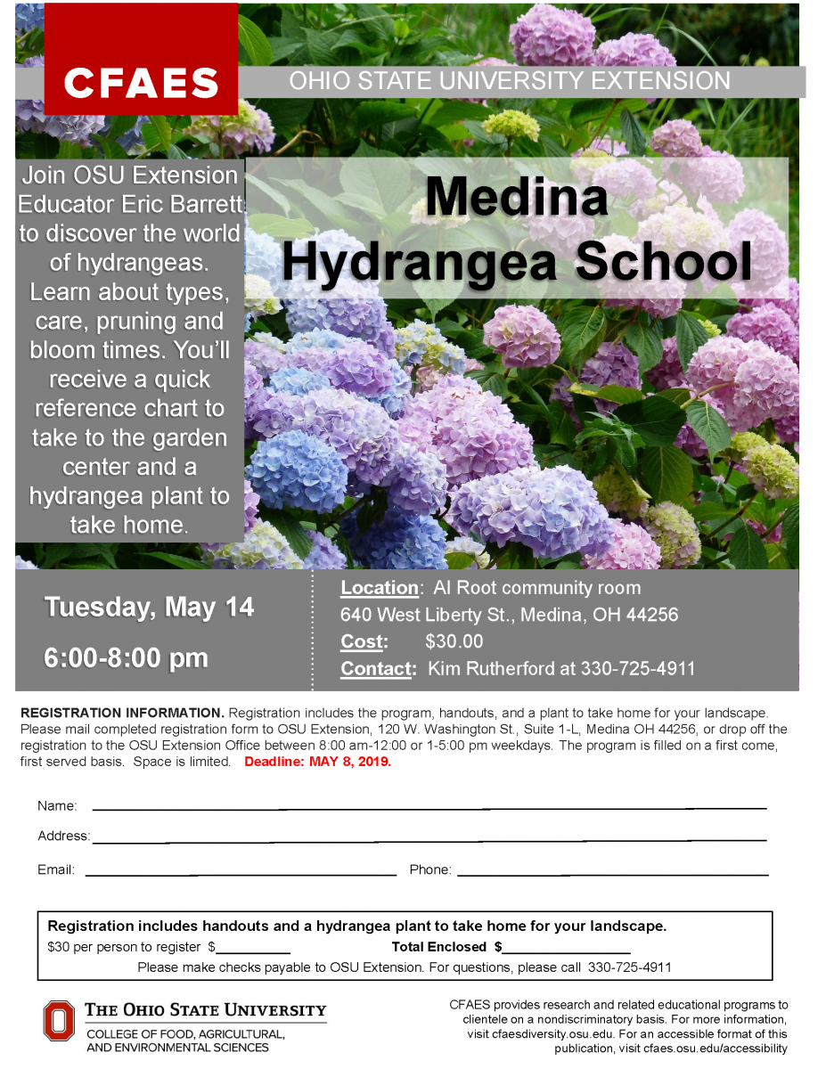Join OSU Extension Educator Eric Barrett to discover the world of hydrangeas. Learn about types, care, pruning and bloom times. You'll receive a quick reference chart to take to the garden center and a hydrangea plat to take home!