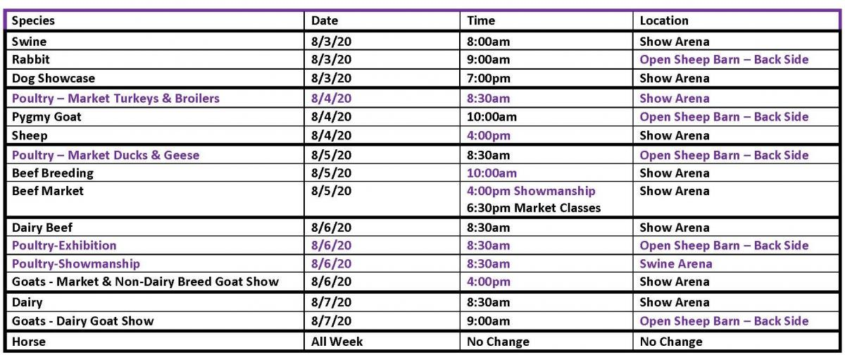 2020 Revised Show Schedule