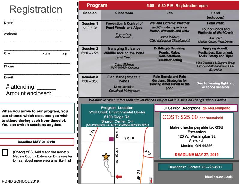 Registration Flyer image showing pond school schedule