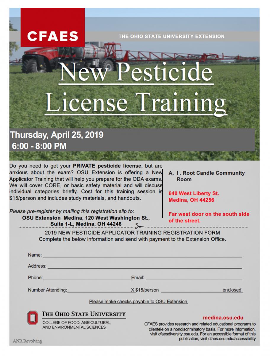 registration flyer for new pesticide applicator training