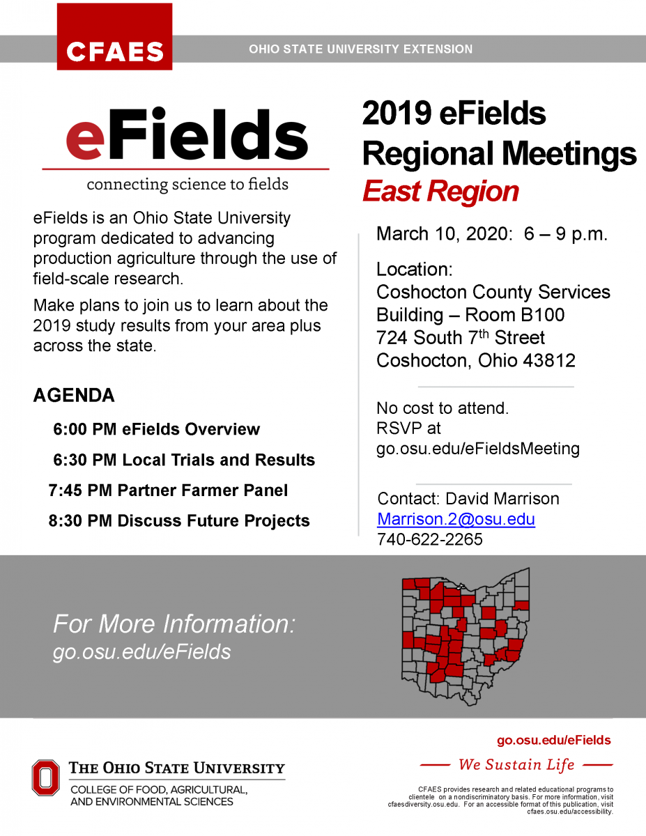 image of 2019 eFields flyer.  containing info outlined above .