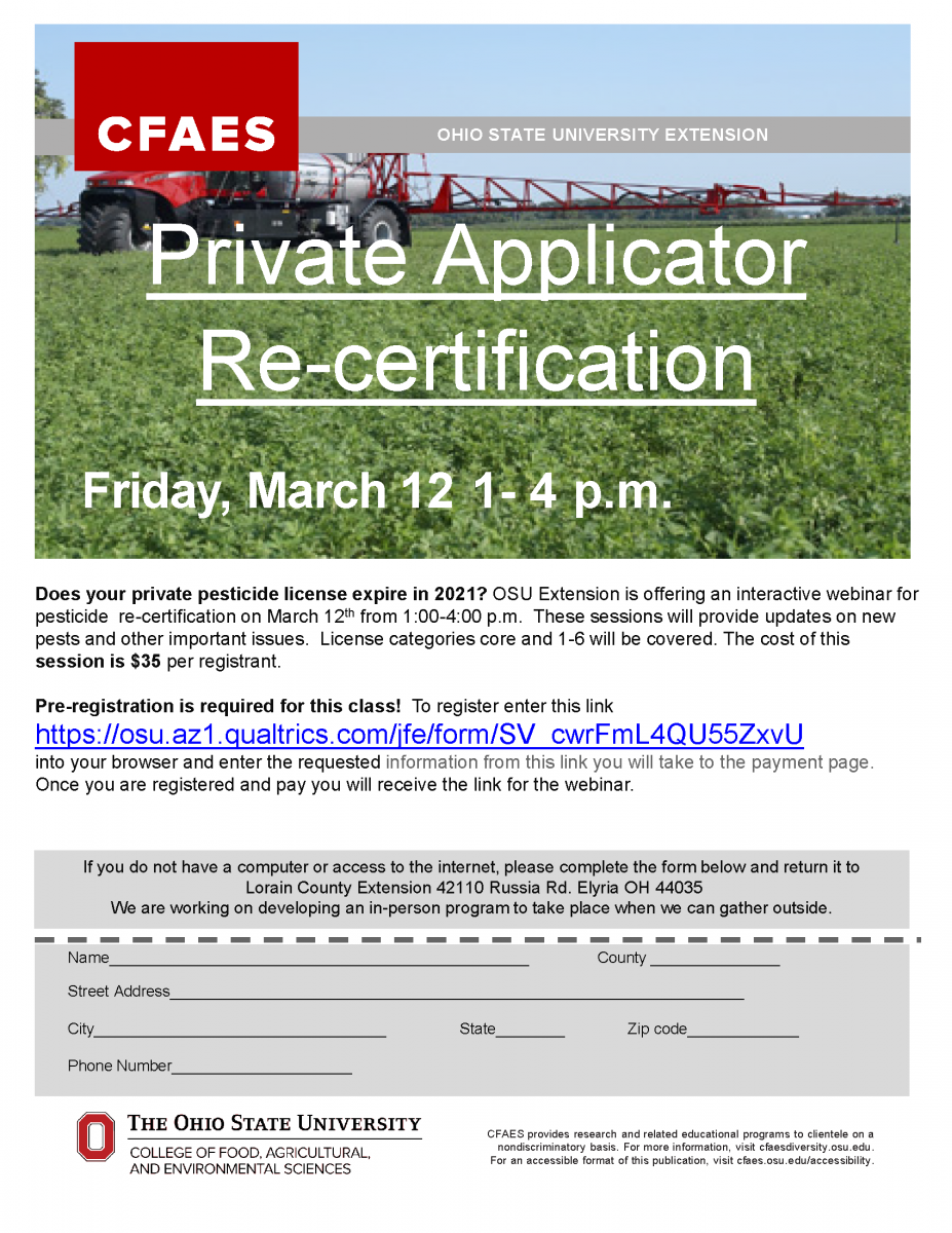 Private Pesticide Applicator Re-Certification Training