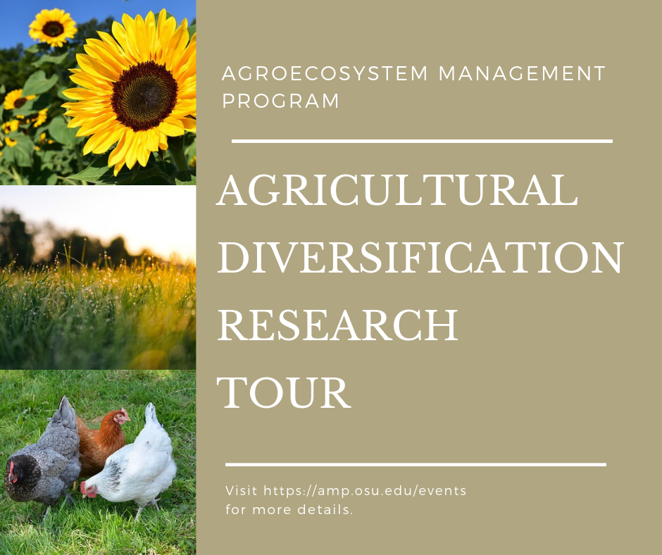 2019 AGRICULTURAL DIVERSIFICATION RESEARCH TOUR         WEDNESDAY, AUGUST 21  6.00 PM - 8.00 PM                     Mellinger Research Farm         6885, West Lincoln Way, Wooster, OH 44691